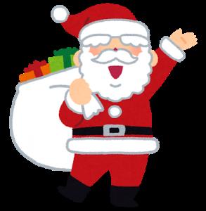 サンタがプレゼントの袋を背負っているイラスト