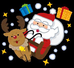 サンタとトナカイとプレゼントのイラスト