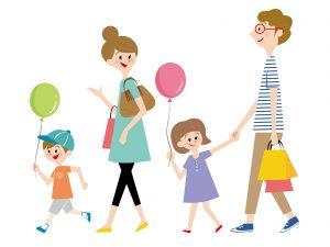 家族4人でのお出かけのイラスト