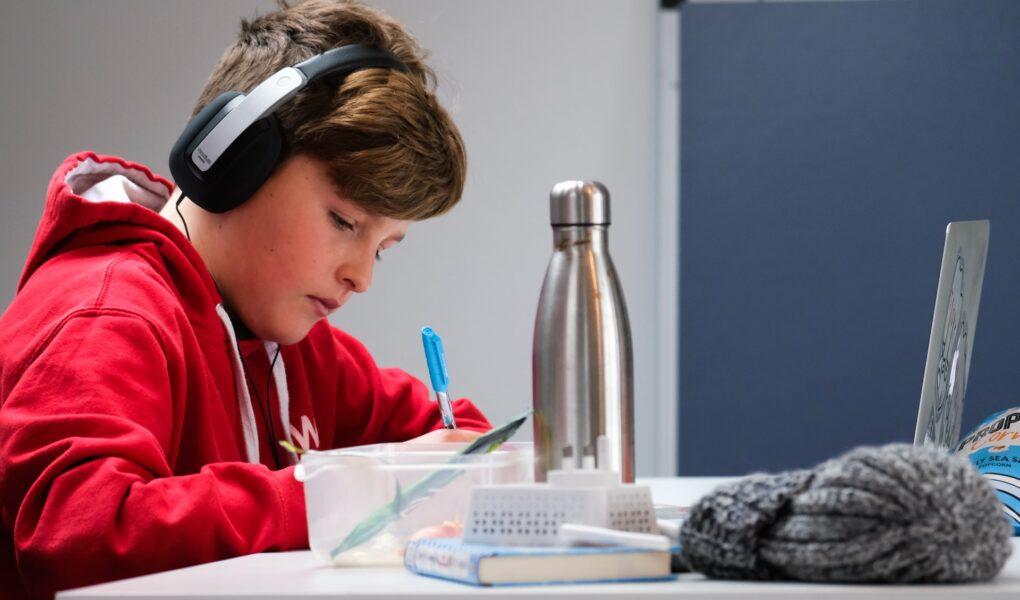 オンライン英会話の効果。男の子が勉強する