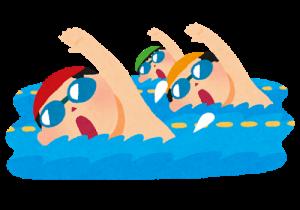 プールで泳ぐイラスト